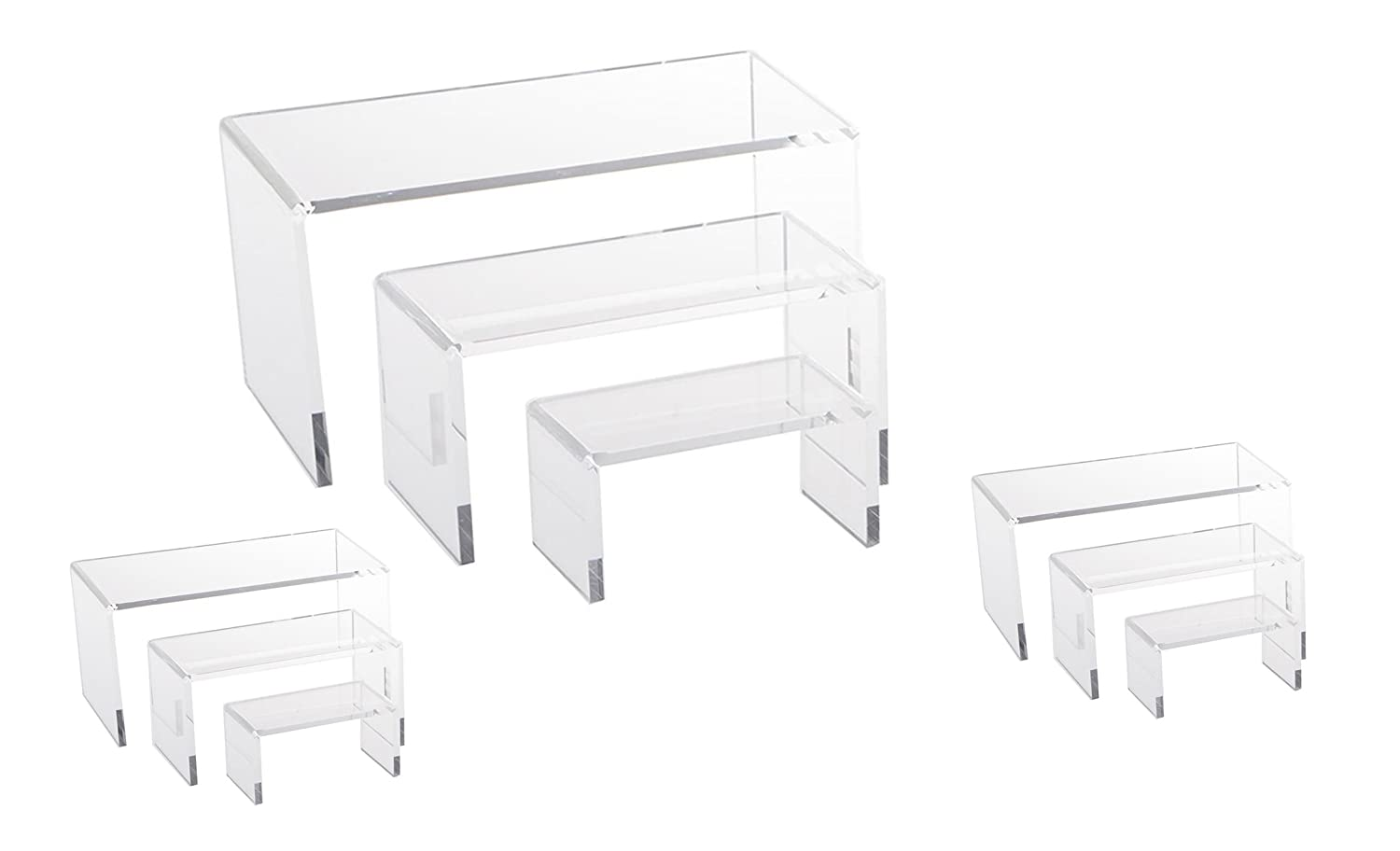 9 Piece Set - Clear Acrylic Display Risers, Acrylic Clear Riser Set N' ice Packaging
