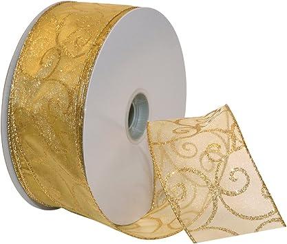 yards spools 5//8 inch May Arts Ribbon 50 Fifty Gold /& Silver
