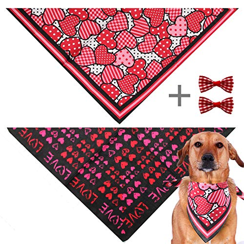 GeiGei 2 Pack Hearts Dog Bandana, Birthday Valentine