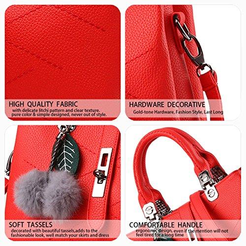 Azzurro Rosso Borse Donna Tote Secchiello Spalla Deerword Limone A Pelle Tracolla Mano HpSqFR