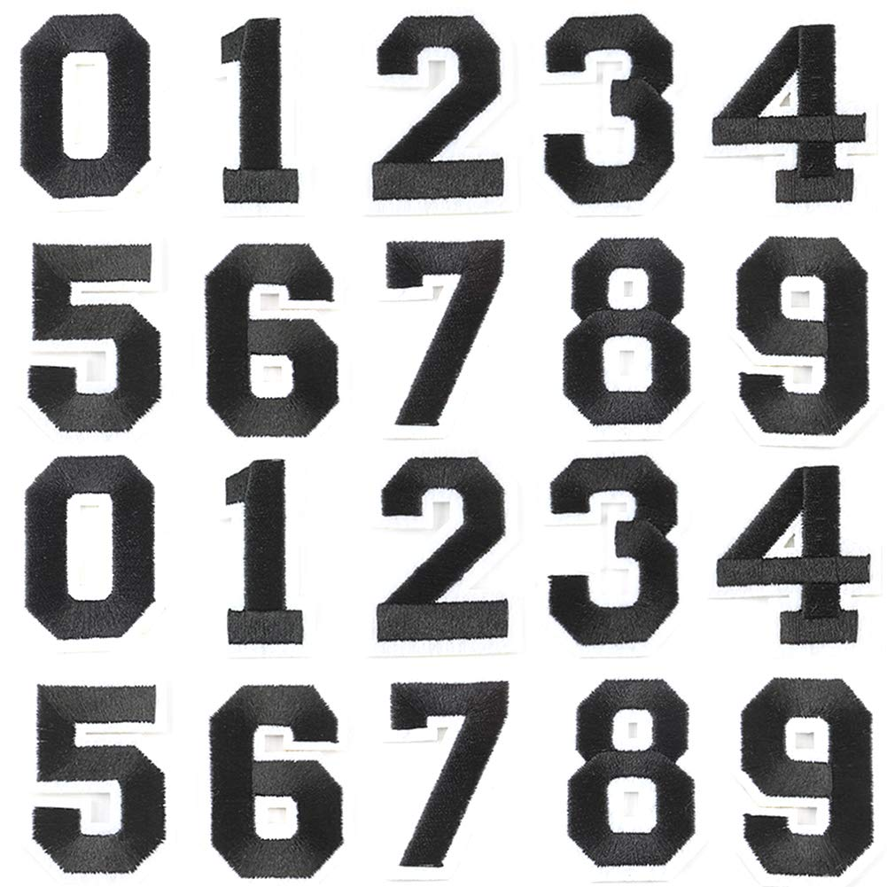 Number Sequins Patches Iron On//Sew On Embroidered Applique Patches for Clothes Dress Hat Pants Shoes Curtain Sewing Decorating DIY Craft Repair Patches 2 Set Numbers