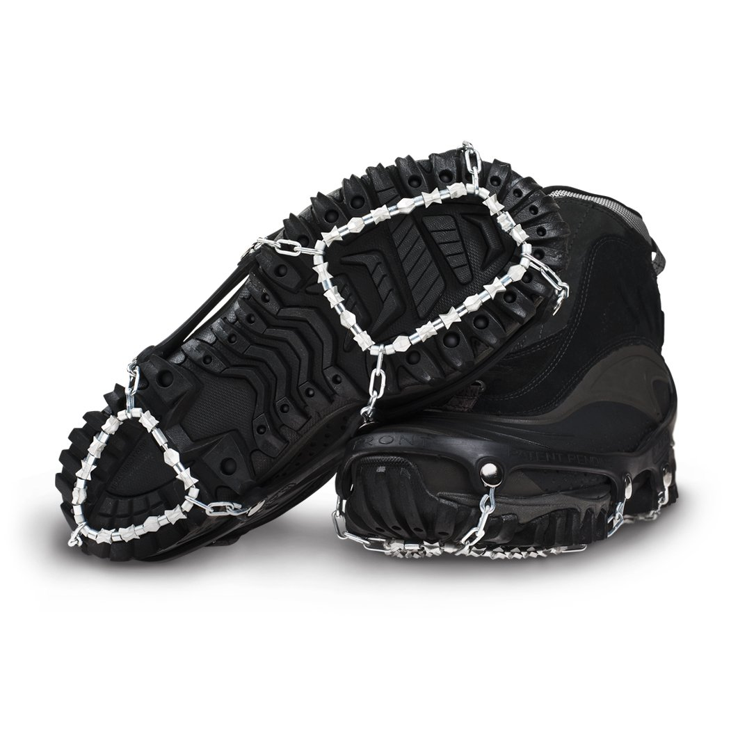 ICETrekkers Diamond Grip Traction Cleats, Large (Men's 9.5-12/Women's 10.5), Black