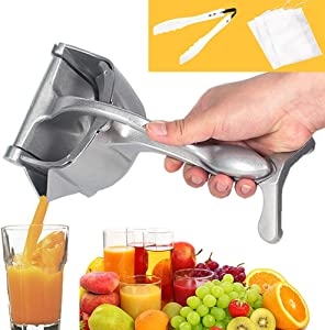 Mifly Manual Fruit Juicer Citrus Press Heavy Duty Hand Press Alloy Orange Lemon Squeezer Detachable Lime Squeezer with 3 Filter Bags and 1 Food tongs