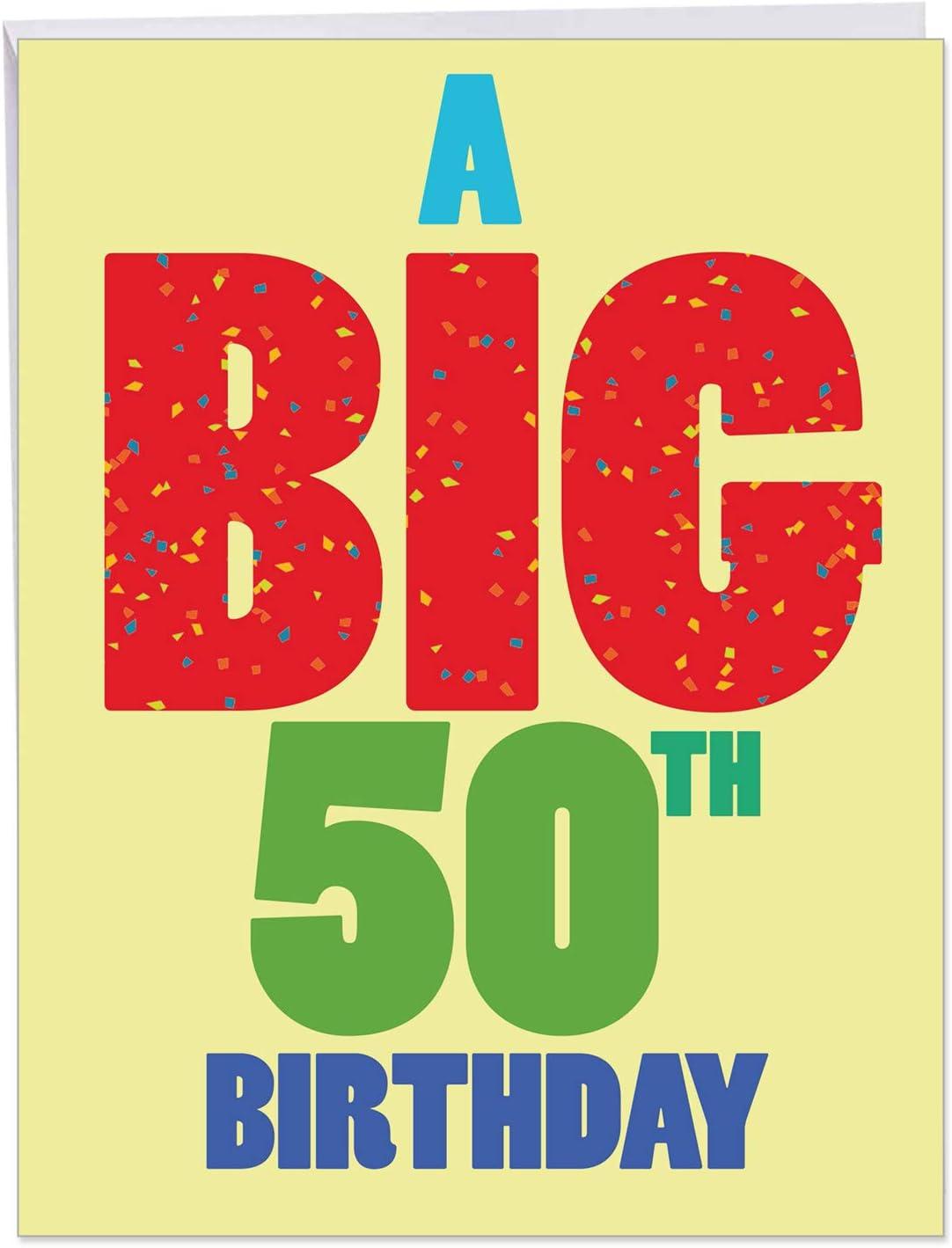 NobleWorks - Large Happy Birthday Greeting Card (5.5 x 5 Inch) - Group  Congratulations, Big Milestone Celebration - Big 5 Birthday J5BDG