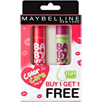 Maybelline New York Baby Lip, Cherry Kiss, 4 g with Free Watermelon Smooth Lip Balm, 4 g