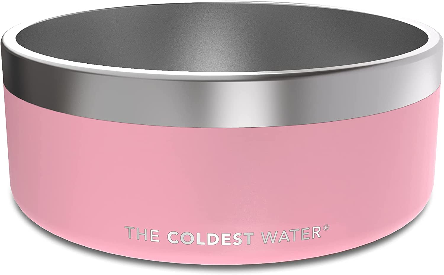 The Coldest Dog Bowl - Durable, Non-Skid, Stainless Steel, Double Wall, Heavy Duty with Rubber Bottom for Dogs, Cats, Pet Feeding (64 oz, Cotton Candy Pink)