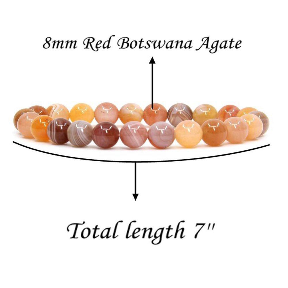Amandastone Handmade Gem Semi Precious Gemstone 8mm Round Beads Elastic Bracelet 7 Unisex