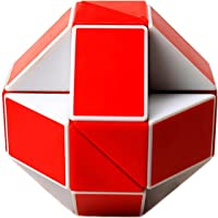 EASEHOME Snake Puzzle, 24 Parts Snake Magic Cube Twist Toy for Adults and Kids, White Red