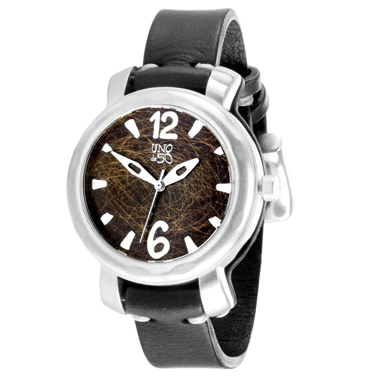 'Uno de 50 rel0131orvngr0u Damen Uhr Zeit zu Uno de 50 mit schwarzes Lederband.