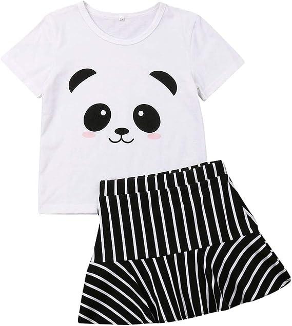 Conjuntos para niña de Verano Panda Camisas y Falda a Rayas Ropa ...