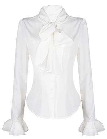 8820a0680 PrettyGuide Women Stand-Up Collar Lotus Ruffle Shirts Blouse Bow White US S