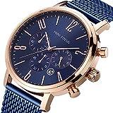 Men's Business Watch, Mini Focus Waterproof Steel Mesh Band Chronograph Watch Sport Date Quartz Wrist Watch (Blue)