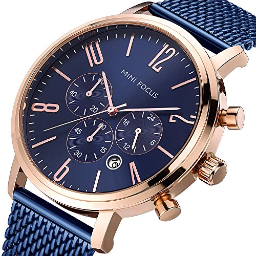 Mens Business Watch, MINI FOCUS Waterproof Steel Mesh Band Chronograph Watch Sport Date Quartz Wrist Watch (Blue)