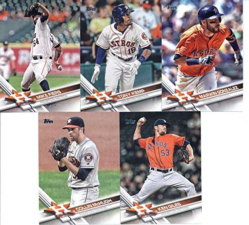 2017 Topps Series 2 Houston Astros Team Set of 8 Cards: George Springer(#389), Mike Fiers(#496), Tony Kemp(#513), Jake Marisnick(#526), Marwin Gonzalez(#563), Collin McHugh(#585), Ken Giles(#596), Jose Altuve(#644)