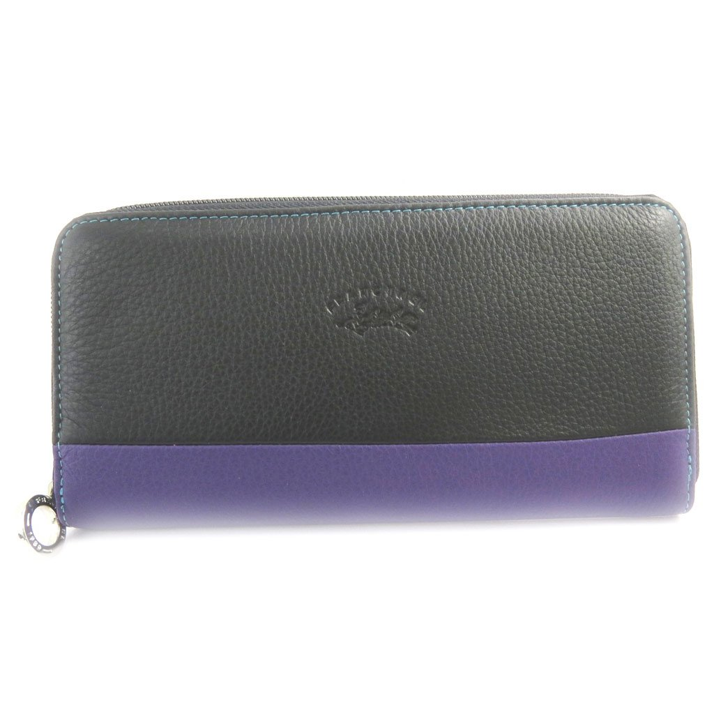 Zipped wallet checkbook holder Troubadour black multicolored.