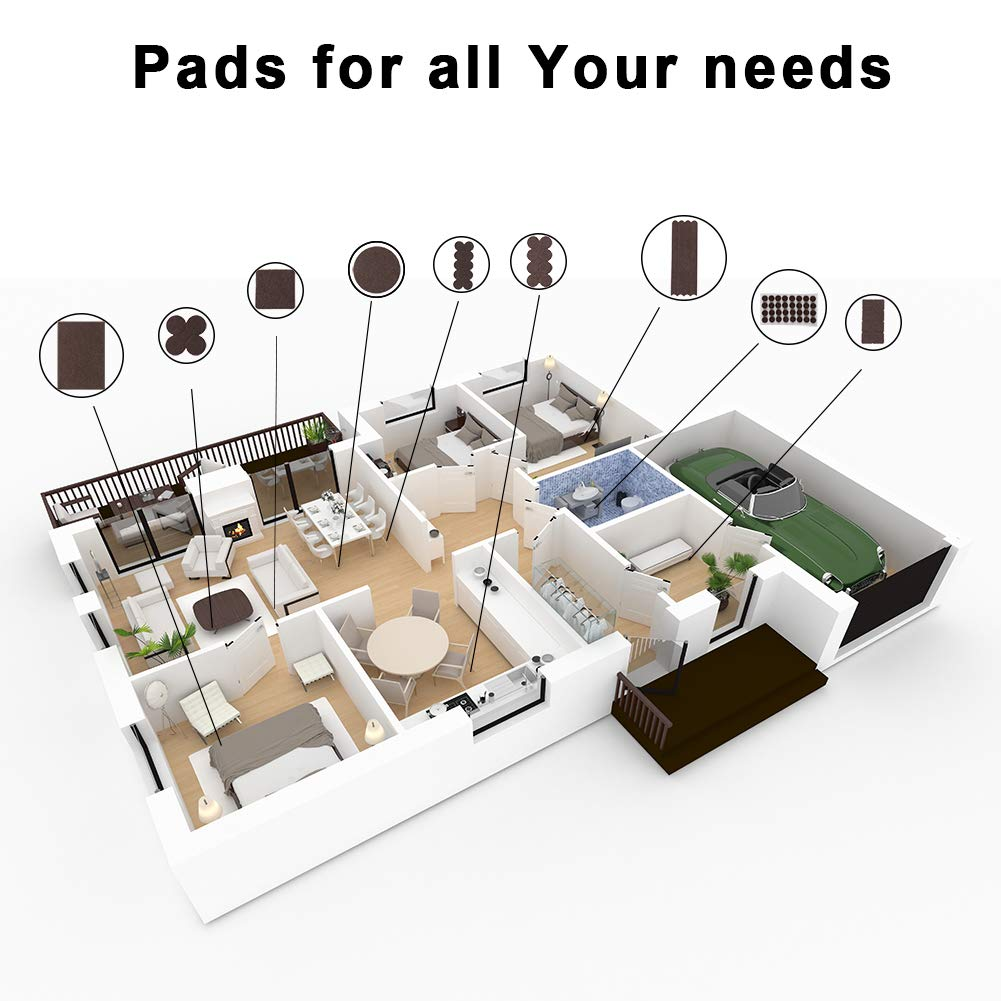 Furniture Pads Felt Pads Pack of 138PCS All Size Furniture Felt Pads, Self Adhesive Anti Scratch Floor Protectors, Used for Hardwood Tile Wood Floor (Brown) STAR SMART