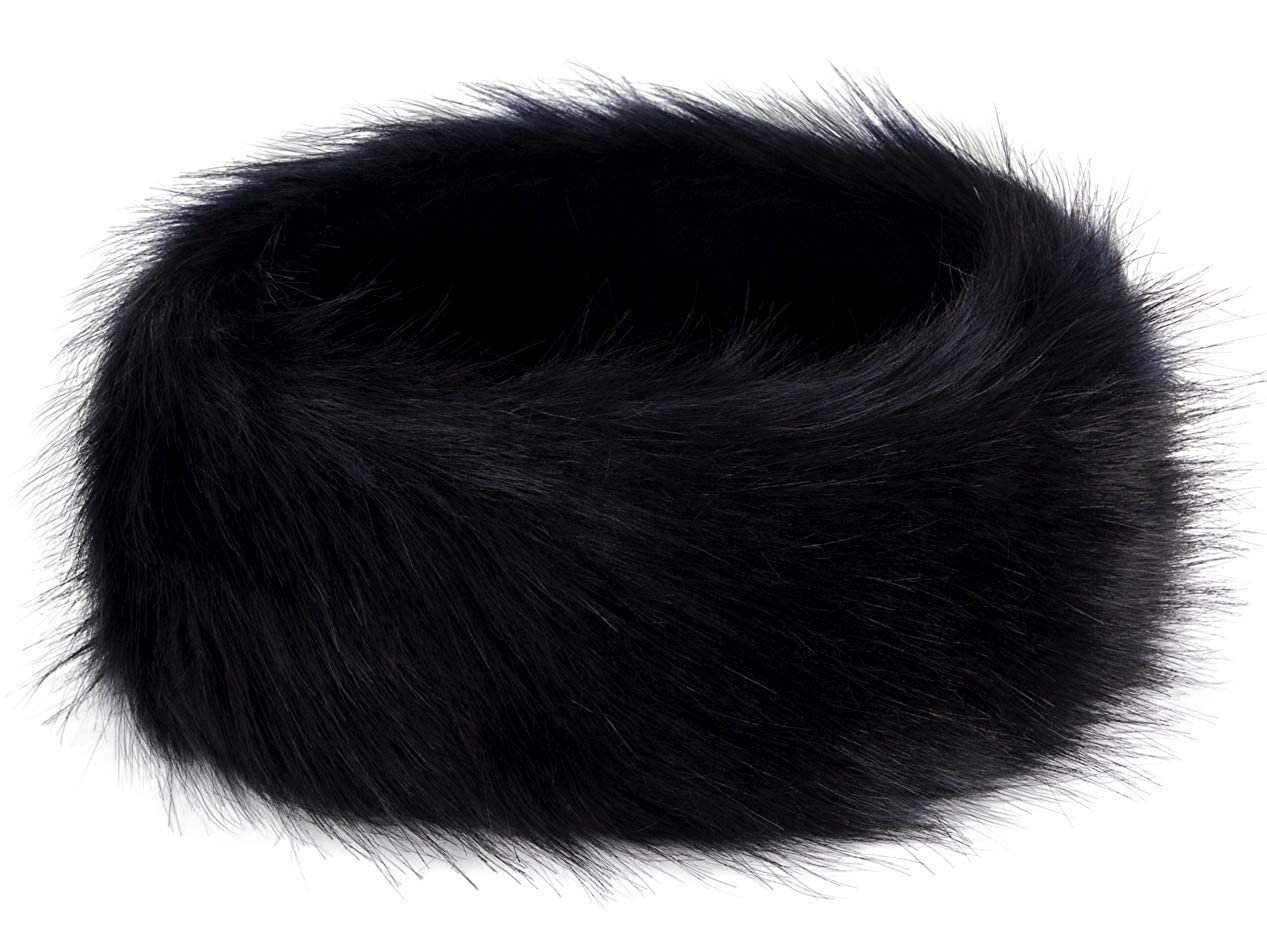 Futrzane Winter Faux Fur Headband for Women and Girls (Black) at Amazon  Women s Clothing store  Cold Weather Headbands 9b4a65f40f9