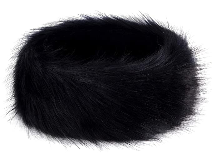 Futrzane Winter Faux Fur Headband for Women and Girls (Black) at ... cab2442c582