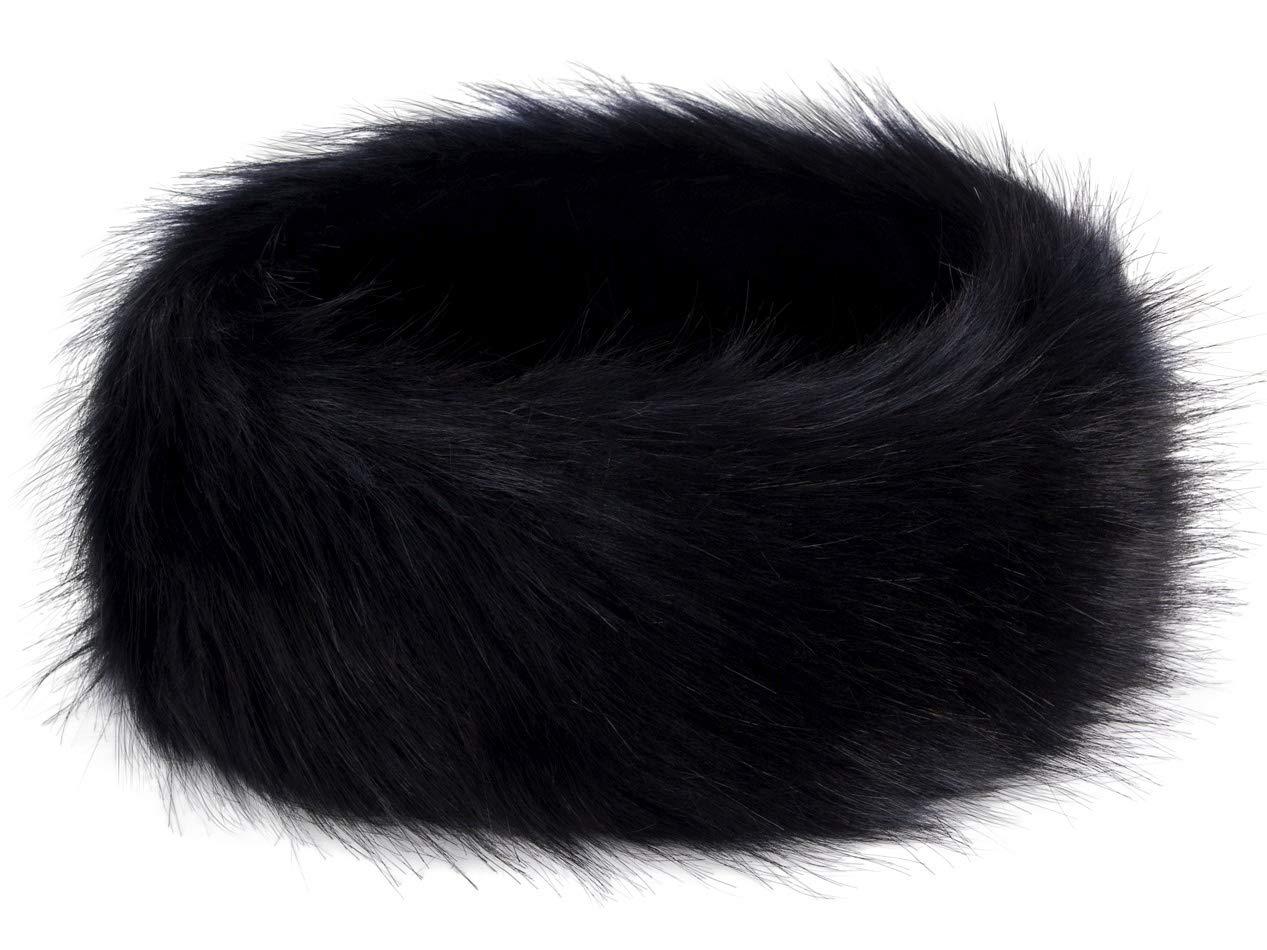 Futrzane Winter Faux Fur Headband for Women and Girls (Black)
