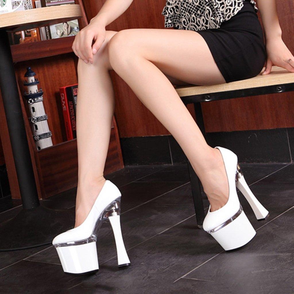 Single Zapatos - - - female Zapatos de mujer - Europa y los Estados Unidos súper tacones altos modelos sexy 20cm zapatos de boda (Color : Blanco, Tamaño : 39-Zapatos long245mm) c23098