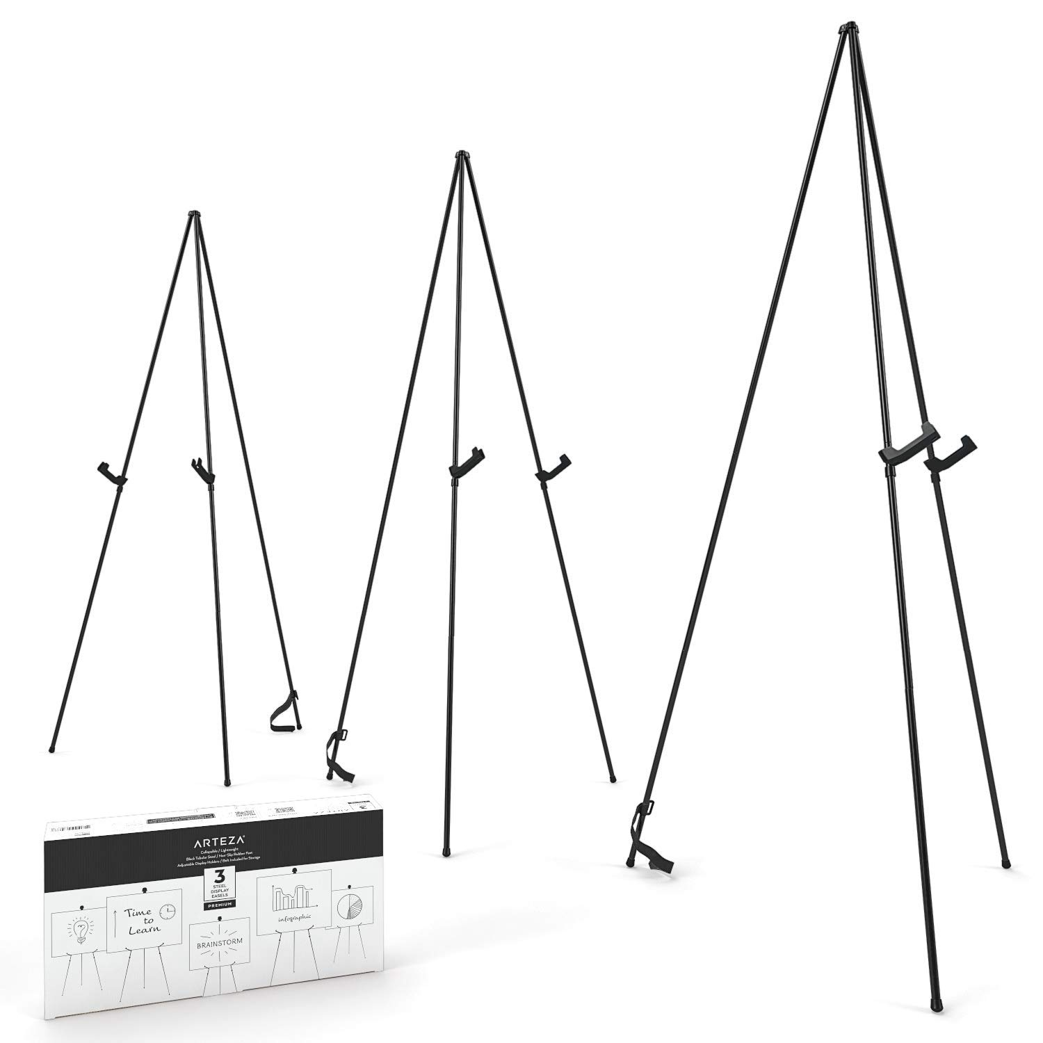 ARTEZA Black Steel Display Easel, 63'' Tall, Pack of 3, Portable, Easy Assembly, Sturdy, Ideal for Trade Shows, Presentations, Posters, Art Displays, and Canvases