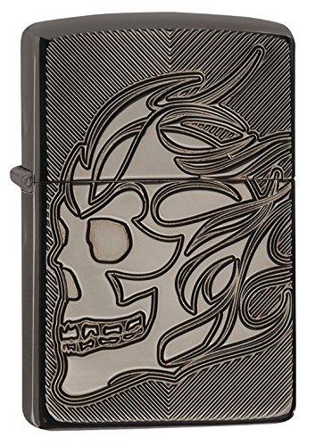 - Zippo Skull Head Armor High Polish Black Ice Pocket Lighter