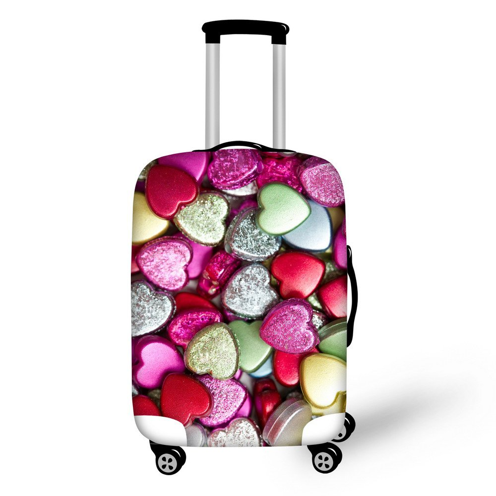 For U Designs 22-26 Inch Middle Fashion Love Heart Style Printed Luggage Covers Spandex Suitcase Cover for Girls
