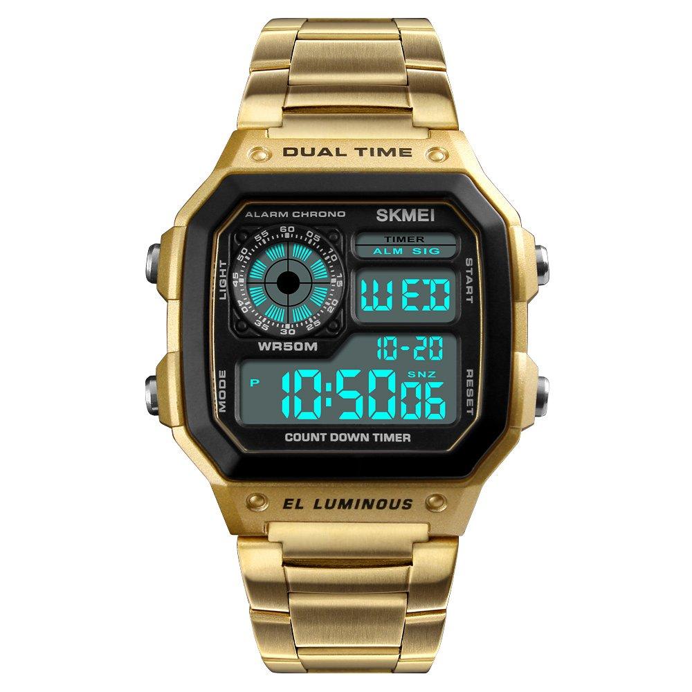 Skmei Reloj Digital Hombre Acero Dorado de Lujo Cuadrado Retro Diseño Sumergible Led Relojes Deportivos de Pulsera para Hombres con Cuenta atrás