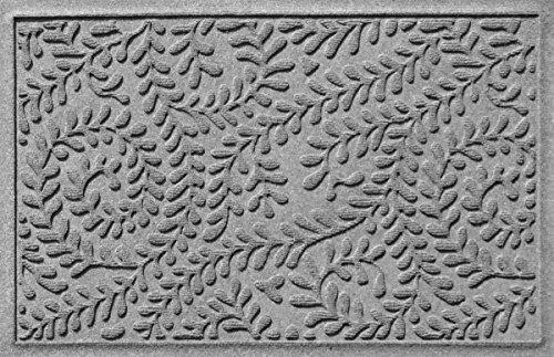 Bungalow Flooring Waterhog Indoor/Outdoor Doormat, 2' x 3', Made in USA, Skid Resistant, Easy to Clean, Catches Water and Debris, Boxwood Collection, Medium Grey