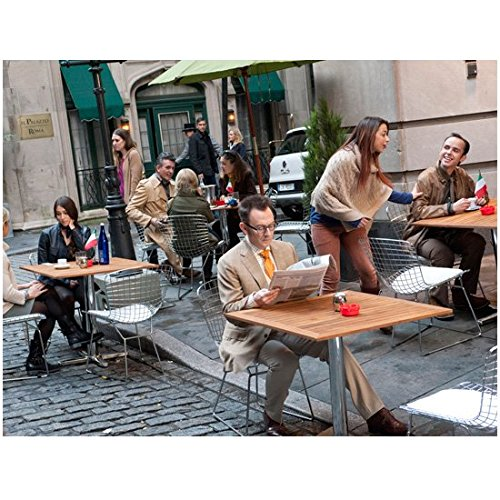 Person of Interest Michael Emerson as Harold Finch Reading Paper at Café with Others 8 x 10 inch photo