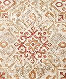 "Ellis Curtain Miramar Medallion Tile Print 100-Percent Cotton Twill (Grommet Top Panels, 84 x 84"", Honey Beige)"