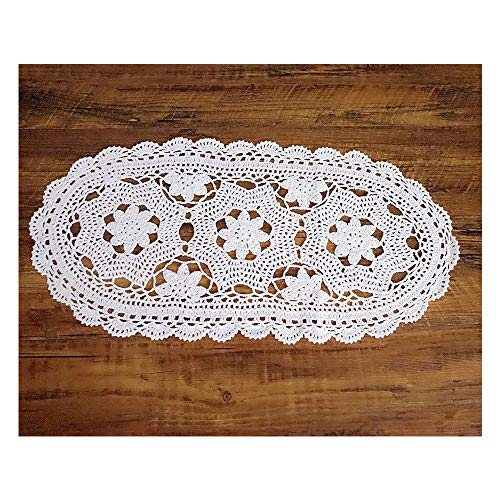 Laivigo Handmade Crochet Lace Oval Lucky Flower Tablecloth Table Runner Doilies Doily,12x24 Inch,White