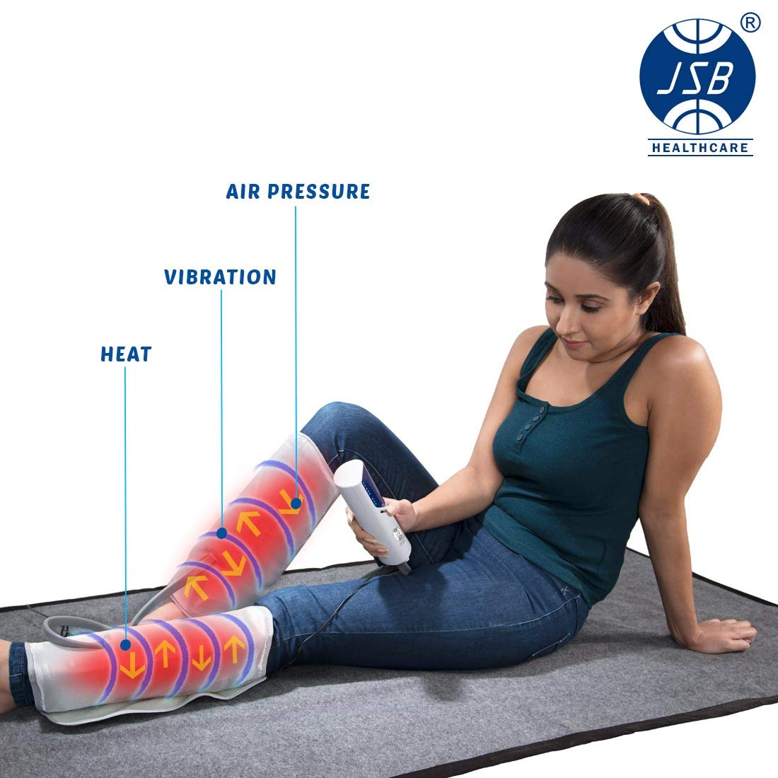JSB HF66 Leg Massager For Foot Calf Pain Relief With Heat &