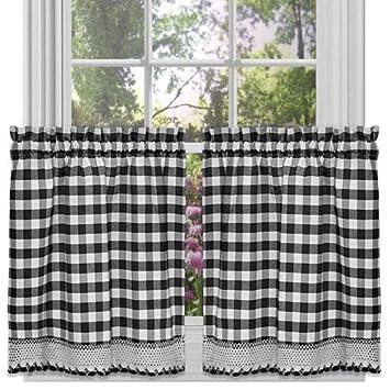 Achim Buffalo Check Window Curtain Tier Pair Black