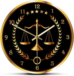 Wall Clock Scale Of Justice Modern Wall Clock No Ticking Timepiece Lawyer Office Decor Law Firm Wall Art Judge Law Wall Hanging Wall Watch for Home/Office/Classroom/Terrace/Kitchen/Living Room