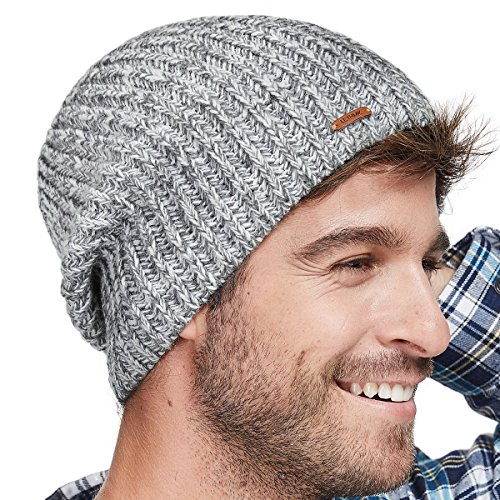 lethmik Winter Beanie Skull Cap Warm Knit Fleece Ski Slouchy Hat For Men & Women Mix Light Grey