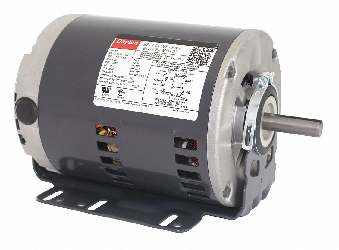 Dayton 3/4 HP Belt Drive Motor, Split-Phase, 1725 Nameplate RPM, 115/208-230 Voltage, Frame 56H