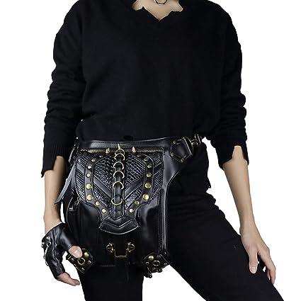 7fc11e2cabdb Steampunk Waist Bag Gothic Leather Cross Body Bags Victorian Rivet Leg  Thigh Holster Bags
