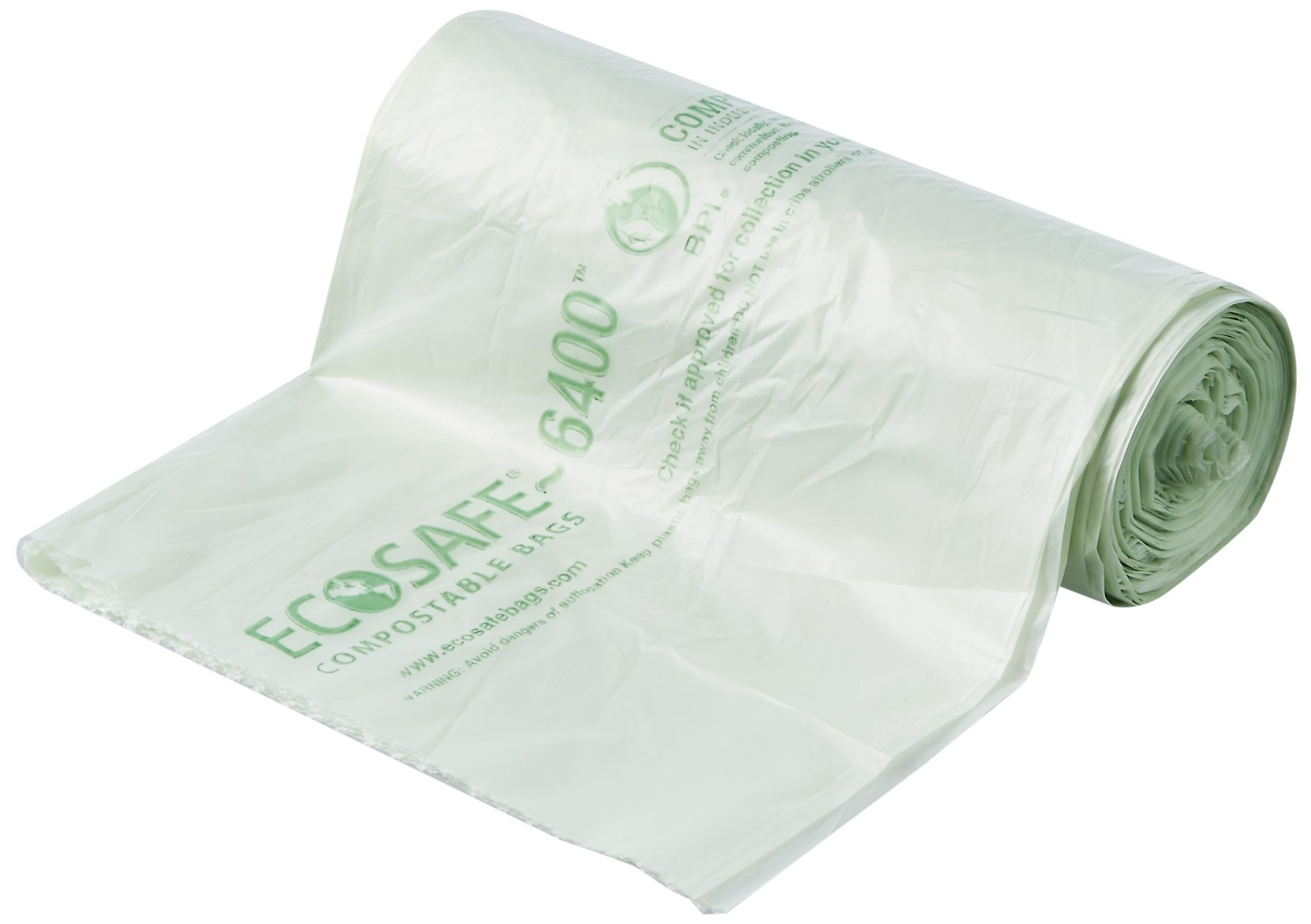 STOUT by Envision E2430E85 EcoSafe-6400 Compostable Bags, 24'' x 30'', 13 gal capacity, 0.85 mil thickness, Green (Pack of 45)