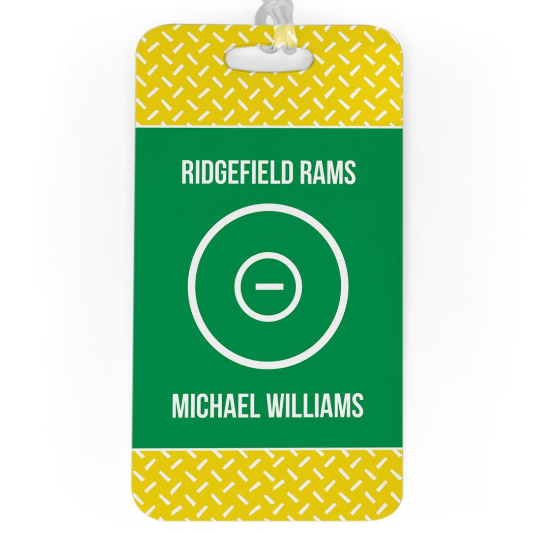 Wrestling Luggage & Bag Tag | Personalized Wrestling Team with Ring | Standard Lines on Back | LARGE | YELLOW/GREEN