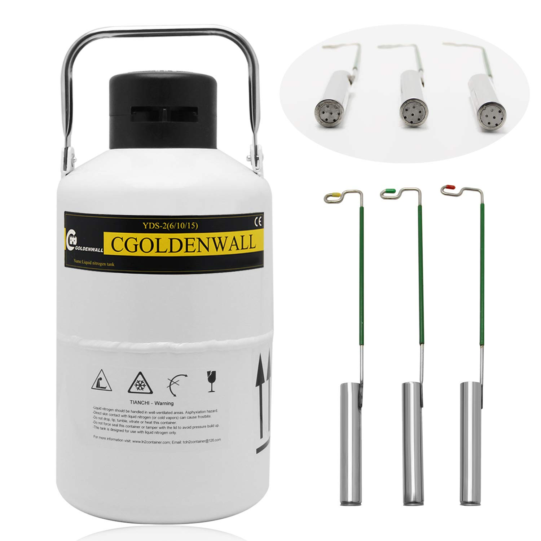 CGOLDENWALL Tanque de Nitrógeno Líquido 2L-30L Contenedor de Líquido Criogénico Portátil Recipiente de Aleación de Aluminio Frasco de Dewar (Capacidad: 3L)