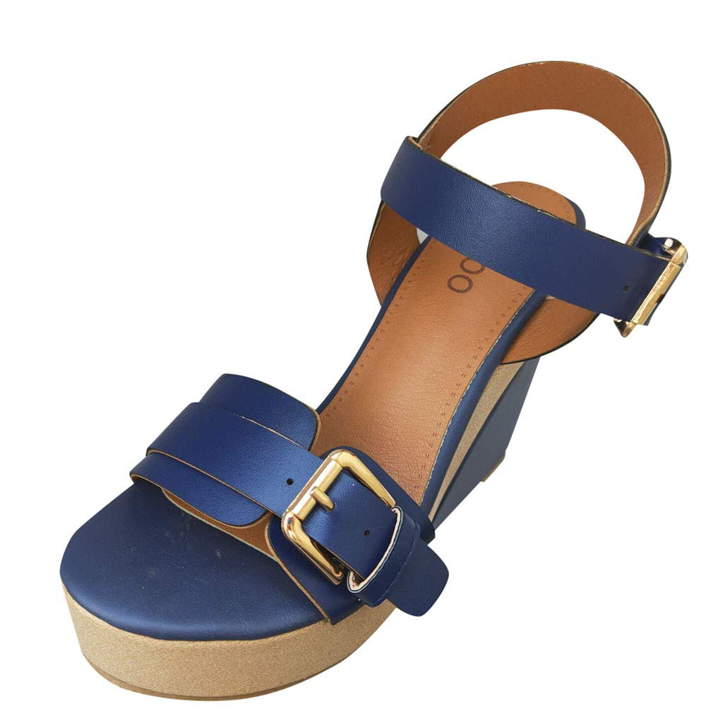 sweetnice Women Shoes Womens Espadrille Buckle Strap Platform Wedge Sandals Open Toe Slingback Mid Heel Summer Sandals (Blue2, US:7.5) by sweetnice Women Shoes
