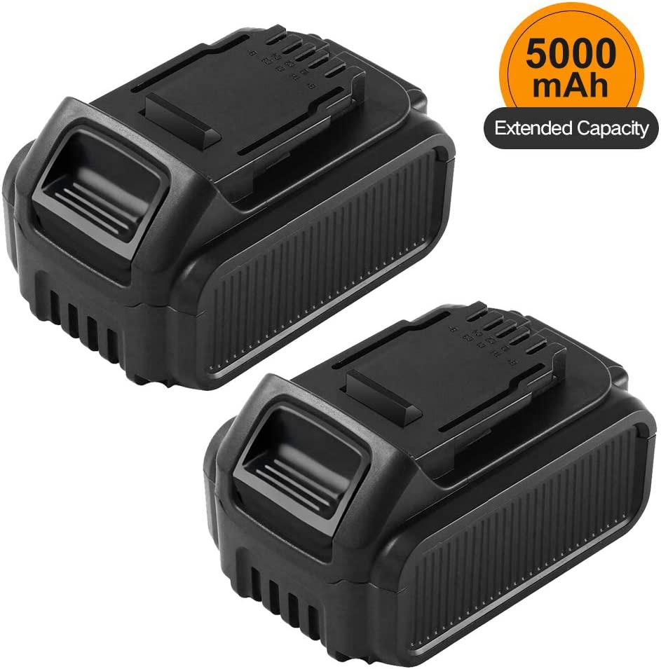 2 Pack 5.0Ah 20 Volt Lithium Replacement Battery Compatible with Dewalt 20V Battery XRP DCB207 DCB201 DCB205 DCB200 DCB203 DCB204 DCB206 Batteries