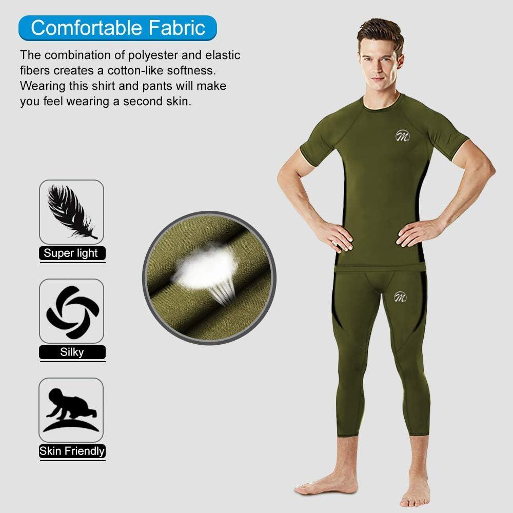 MEETWEE Compression Shirts and Pants Athletic Sports Baselayer Running 3//4 Leggings /& T-Shirts