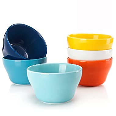 Sweese 107.002 Porcelain Bouillon Cups - 8 Ounce Dessert Bowls - Set of 6, Hot Assorted Colors