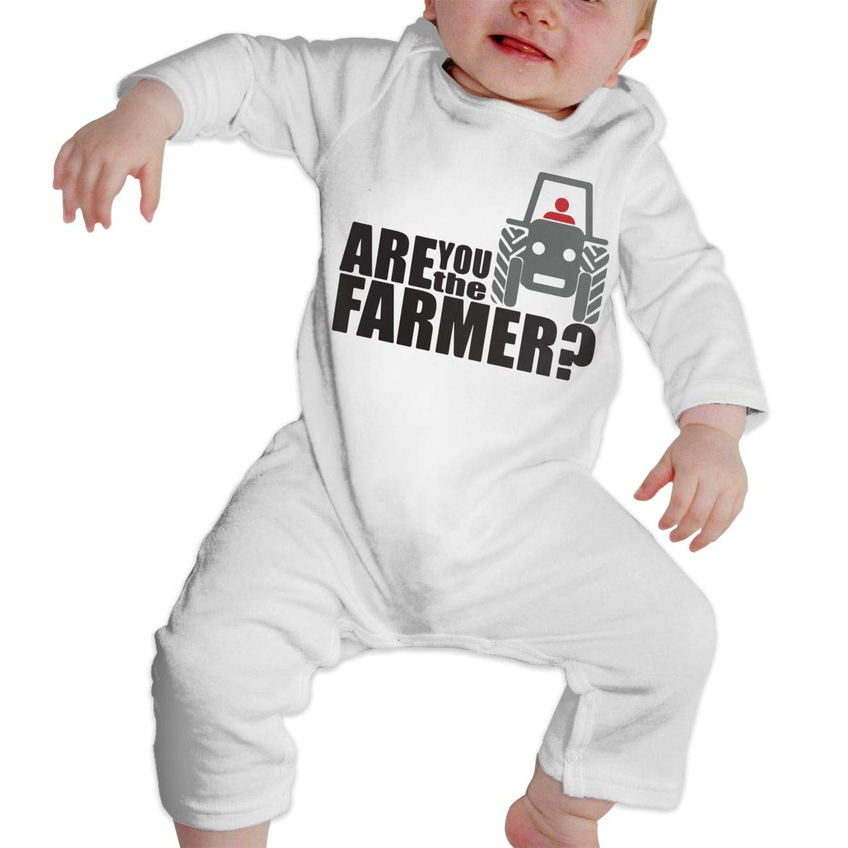Newborn Baby Boys Girls Bodysuits are You The Farmer Cotton Long Sleeve One-Piece Coverall