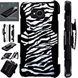 zebra print phone accessories - For LG X Power 2 Case / LG X Charge Case / LG Fiesta Case / LG K10 Power Case + Tempered Glass Hybrid Silicone Cover Stand LuxGuard Holster Combo Pack (Zebra Print)