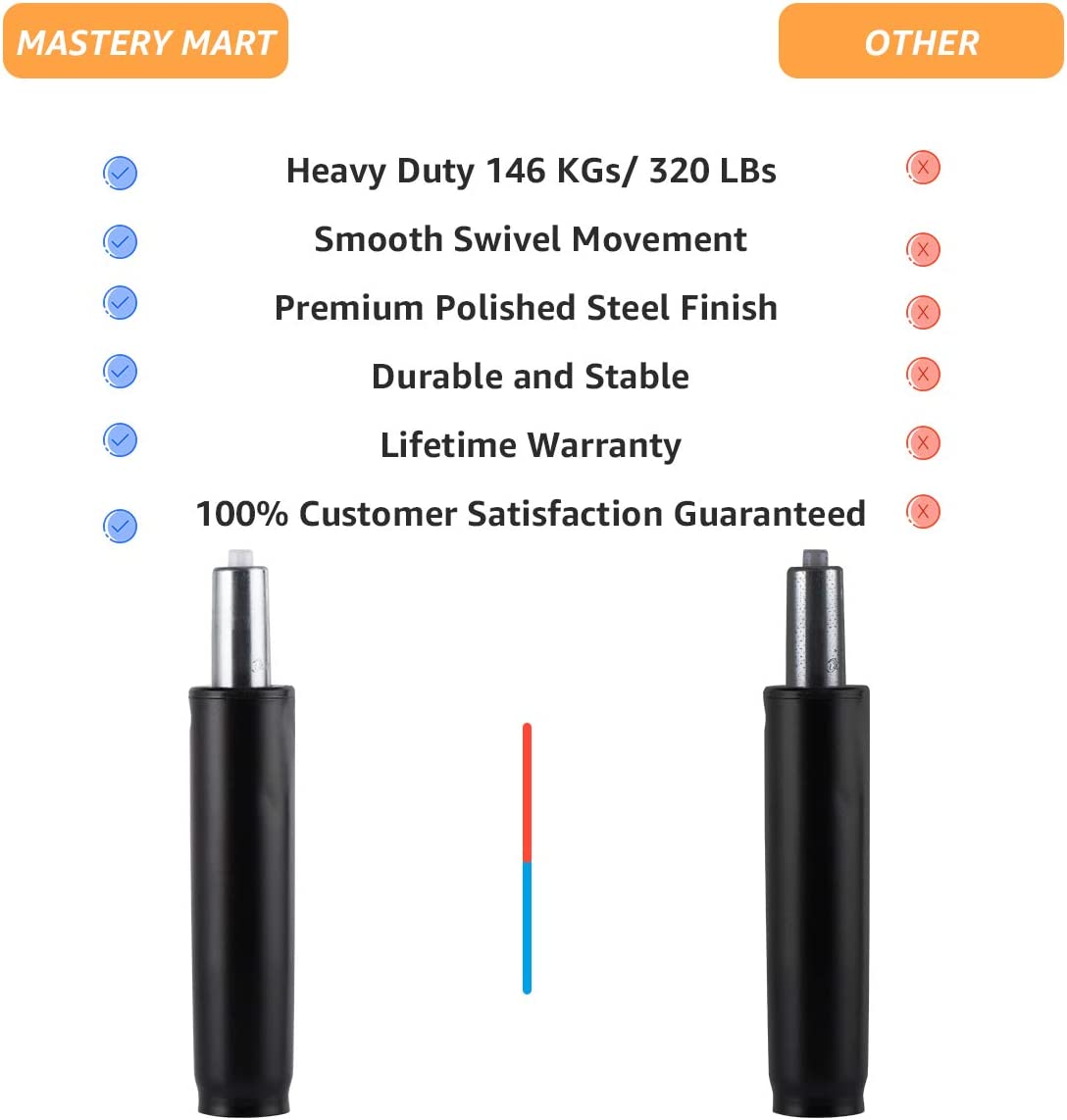 Universal Size Replacement Part Mastery Mart Gas Lift Cylinder for Office Chair Heavy Duty Pneumatic Shock 4// 10 cm Matte Black