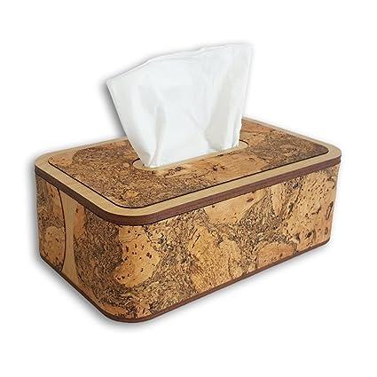 brades caja de pañuelos – superior extraíble decorativo con corcho. Tenerife Negro