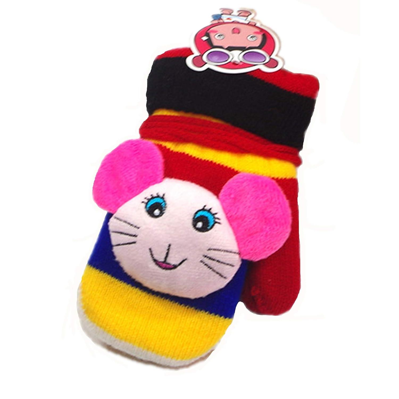Monkey Kids Boy Girl Warm Winter Gloves Sherpa Lined Knit Mittens Gloves